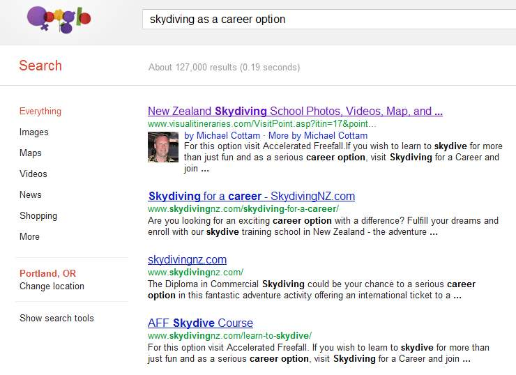 Google search for Skydiving as a career option
