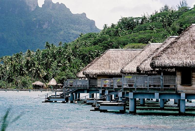 Overwater bungalows at Hotel Bora Bora, French Polynesia