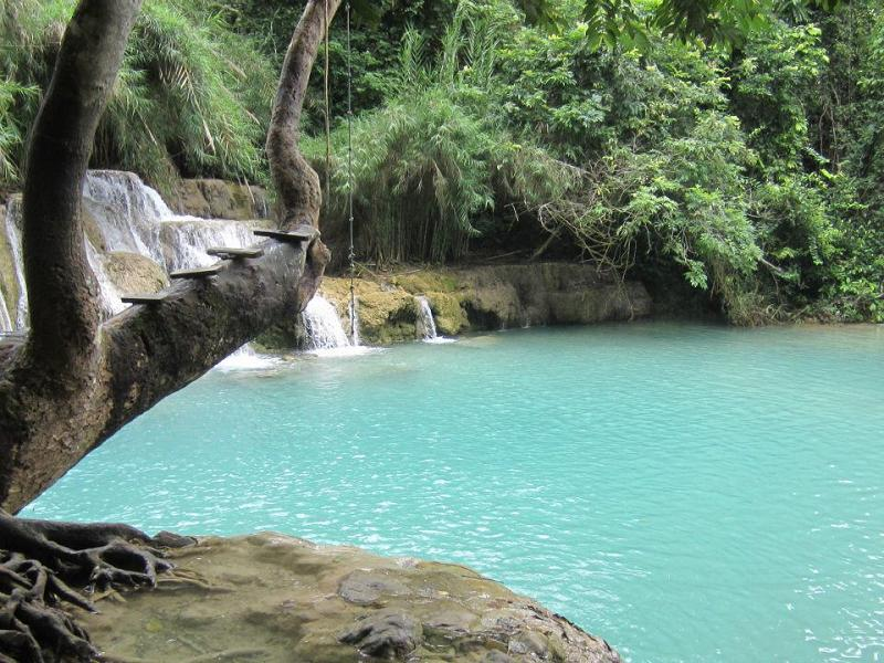 Rope swing in Laos