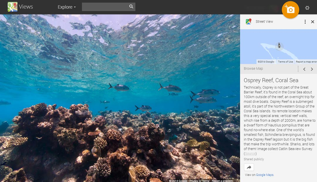 Osprey Reef screenshot from Google Street View