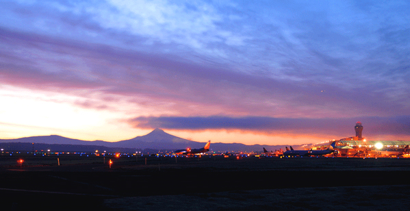 PDX airport at sunset