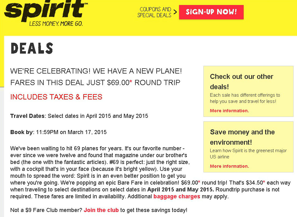 Spirit Airlines' $69 promo