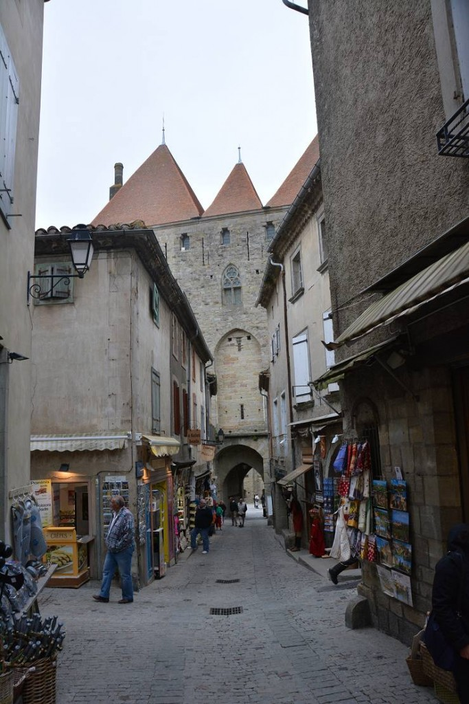 Inside the walled city of Carcassonne