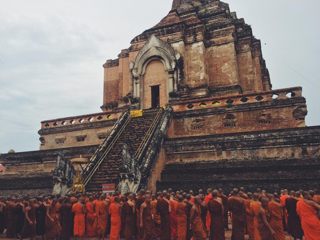 "We checked out the most famous temple (or ""wat"") in Chiang Mai, called Wat Chedi Luang, and were lucky to run into a monk procession! They peacefully marched around the building while singing a Buddhist chant."