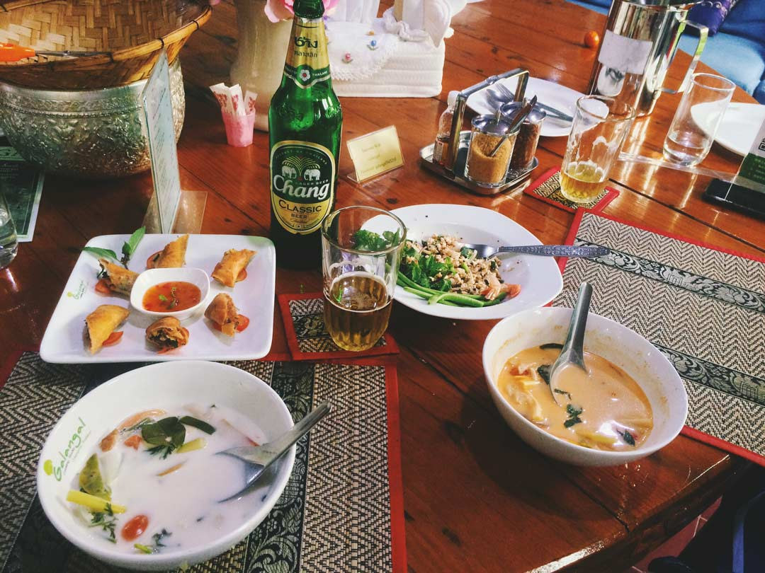 One of the days, we signed up for a Thai cooking class at Galangal Cooking School. It was fabulous, and we made so many dishes ranging from Pad See Ew to Tom Kha Gai (pictured) to spring rolls to fresh curry paste! One of my favorite things to do in Chiang Mai.