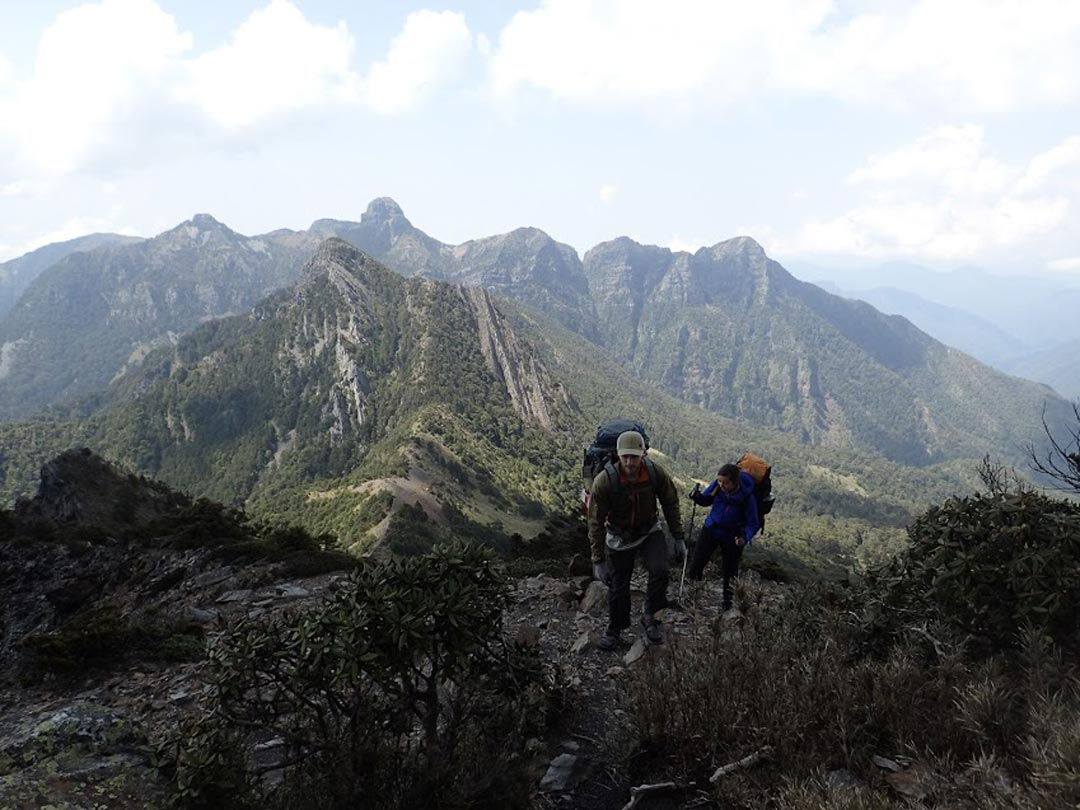 Trekking along on the Holy Ridge Trail in Taiwan