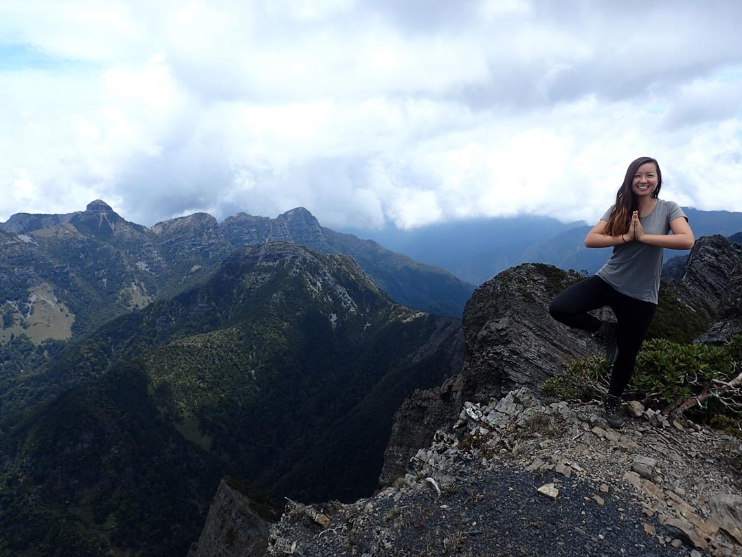 Tree pose on the Holy Ridge Trail in Taiwan