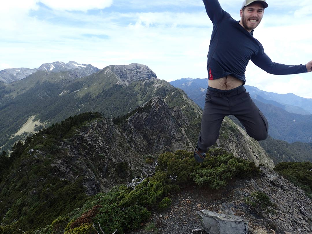 Jumping for joy on the Holy Ridge Trail in Taiwan