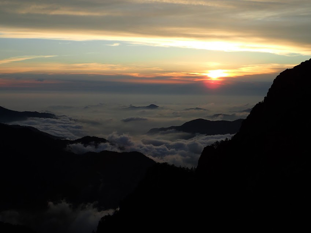Sunset on the Holy Ridge Trail in Taiwan