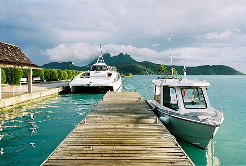 From the airstrip at Bora Bora, you'll take a shuttle boat to either Vaitape on the main island, or directly to your resort on one of the atolls.
