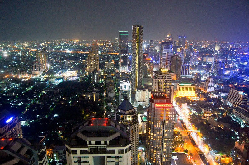 City skyline of Bangkok at night