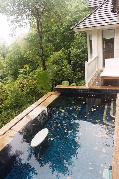 Private plunge pool at the Banyan Tree, on the island of Mahe in the Seychelles