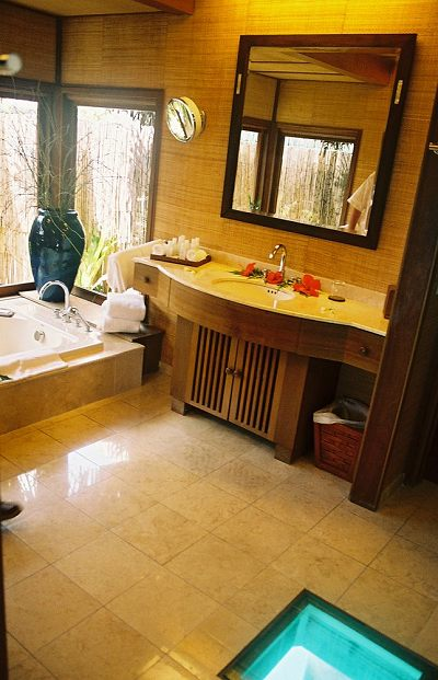 Bathroom of an overwater bungalow at the Hilton Bora Bora Nui