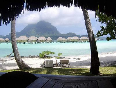 Regardless of the weather, the view from the beach bungalows at Bora Bora Pearl Resort is stunning