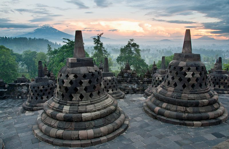 Borobudur, the world's largest Buddhist temple, Central Java, Indonesia