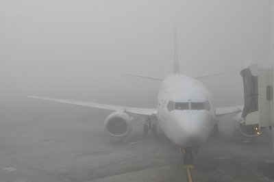 Thick fog at Auckland Airport early one winter (June) morning