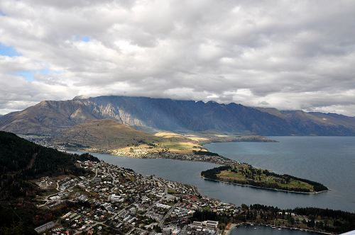 Looking down on Queenstown from the top of the Skyline gondola