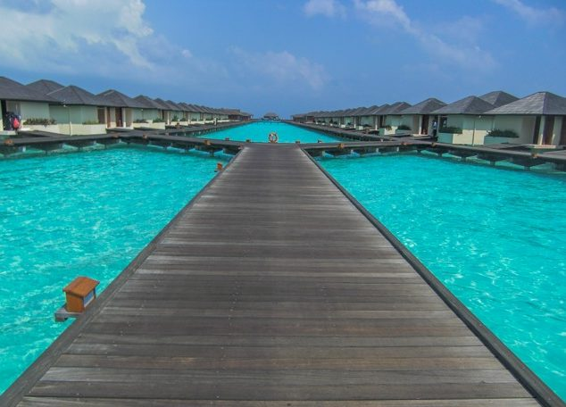Overwater villas in the Maldives.