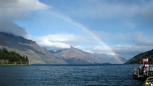 Rainbow over Lake Wakatipu and Queenstown