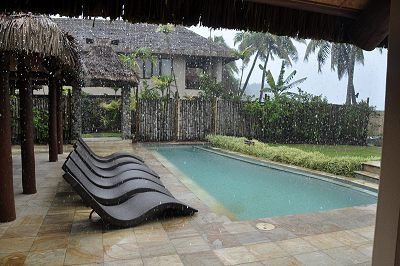 The Rain Pouring Down At Taunovo Bay On Fiji S Coral Coast In November