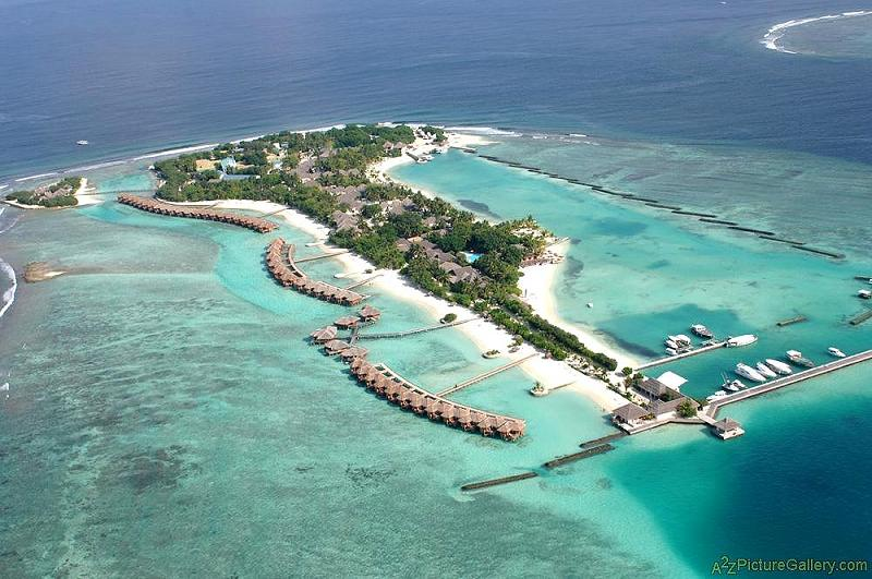 Aerial view of Sheraton Full Moon resort, Maldives
