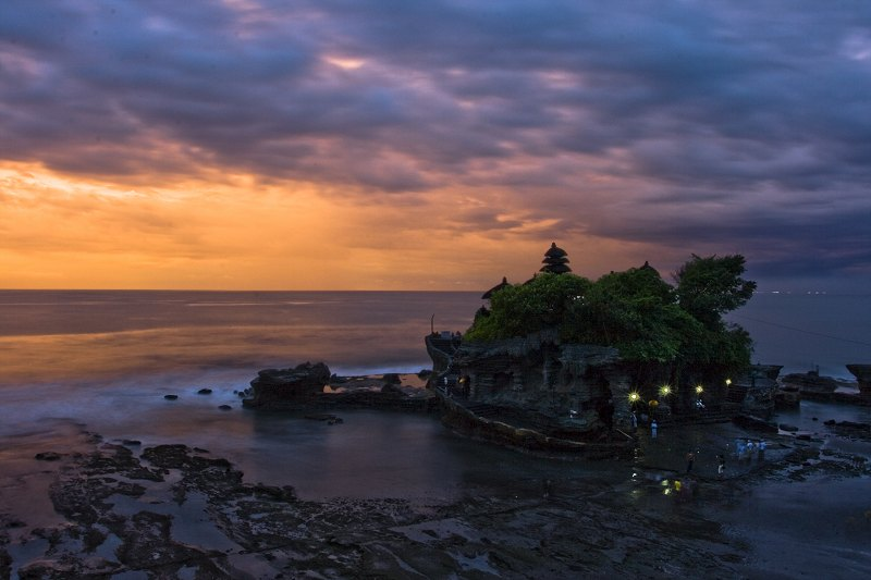 Tanah Lot is a rock formation off the Indonesian island of Bali, Indonesia