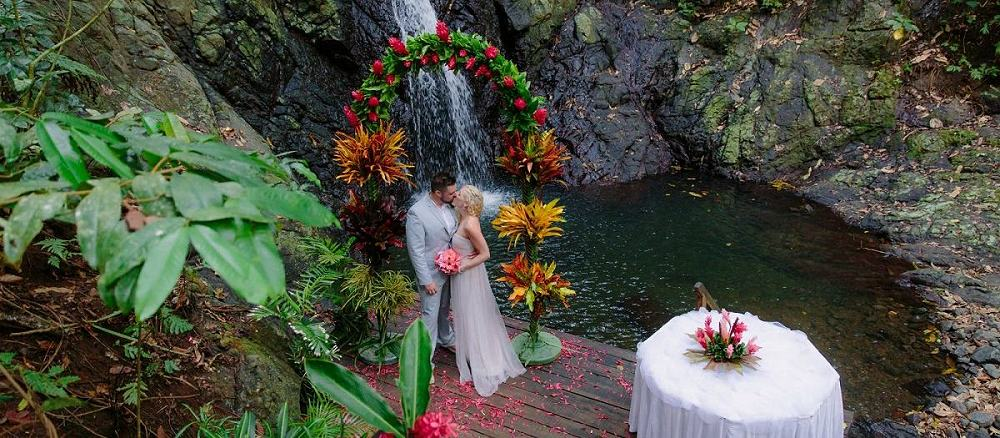 Waterfall wedding location at Namale Resort on Vanua Levu, Fiji