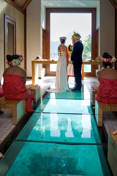 Inside the overwater wedding chapel at the InterContinental Bora Bora Resort & Thalasso Spa