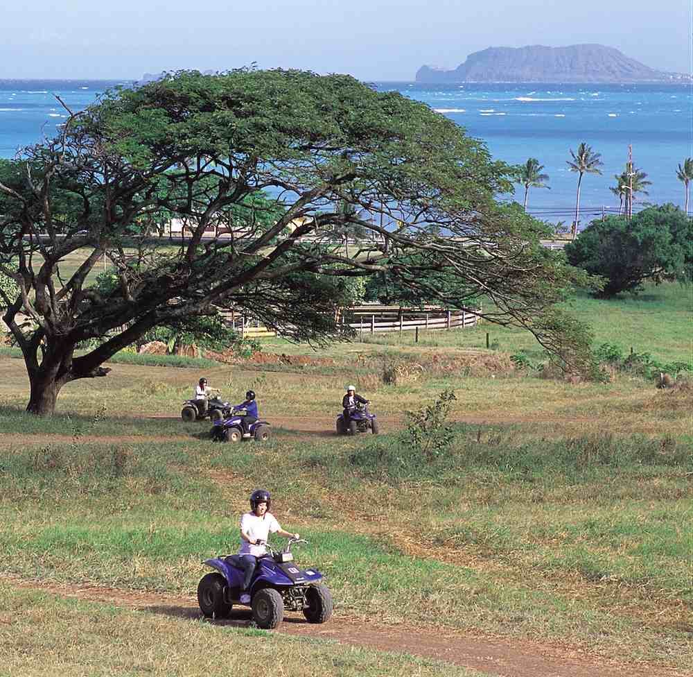 ATV Tour at Kualoa Ranch - ATV Tours at Kualoa Ranch. Copyright Hawaii Tourism Japan (HTJ).