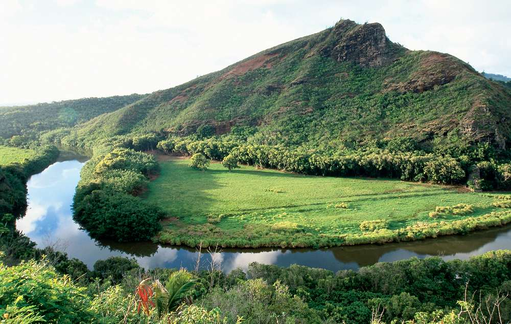 Wailua River - Wailua River and Waterfalls. Copyright Hawaii Tourism Authority (HTA) / Robert Coello.