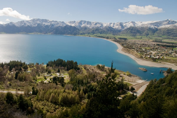 Aerial view - Lake Hawea Holiday Park. Copyright Lake Hawea Holiday Park.
