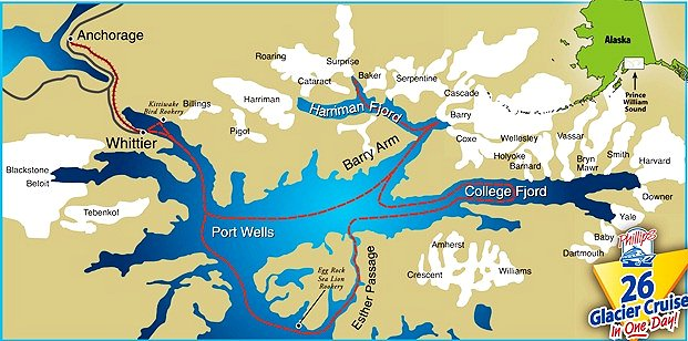 Route and Map of the Cruise - 26 Glacier Cruise by Phillips Cruises. Copyright 26 Glacier Cruise by Phillips Cruises.