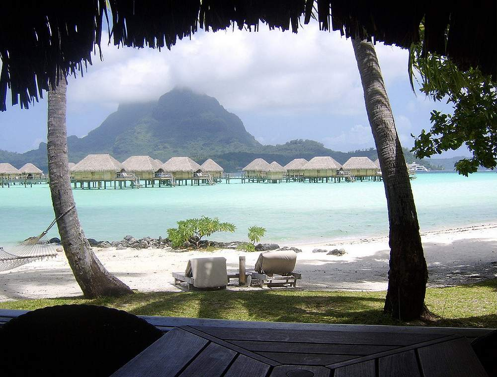 View from a beach bungalow - Bora Bora Pearl Beach Resort & Spa. Copyright Michael Cottam.
