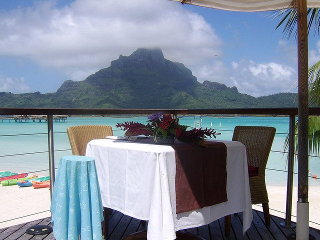 Romantic table for two with a view of Mount Otemanu - St. Regis Bora Bora. Copyright Michael Cottam.