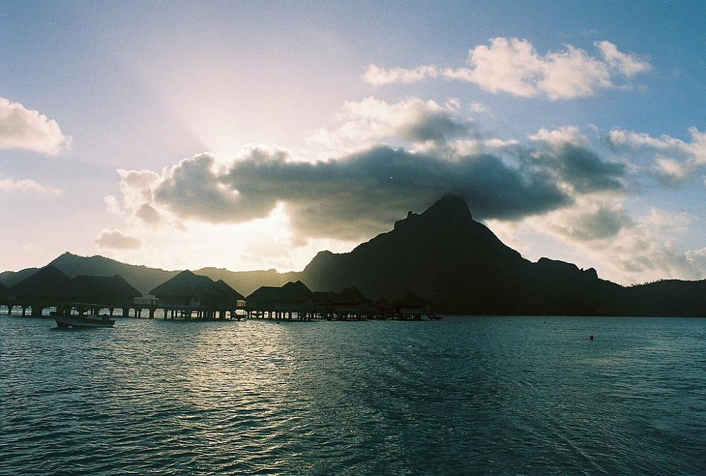 Sunset over Mount Otemanu - InterContinental Bora Bora Resort & Thalasso Spa. Copyright Michael Cottam.