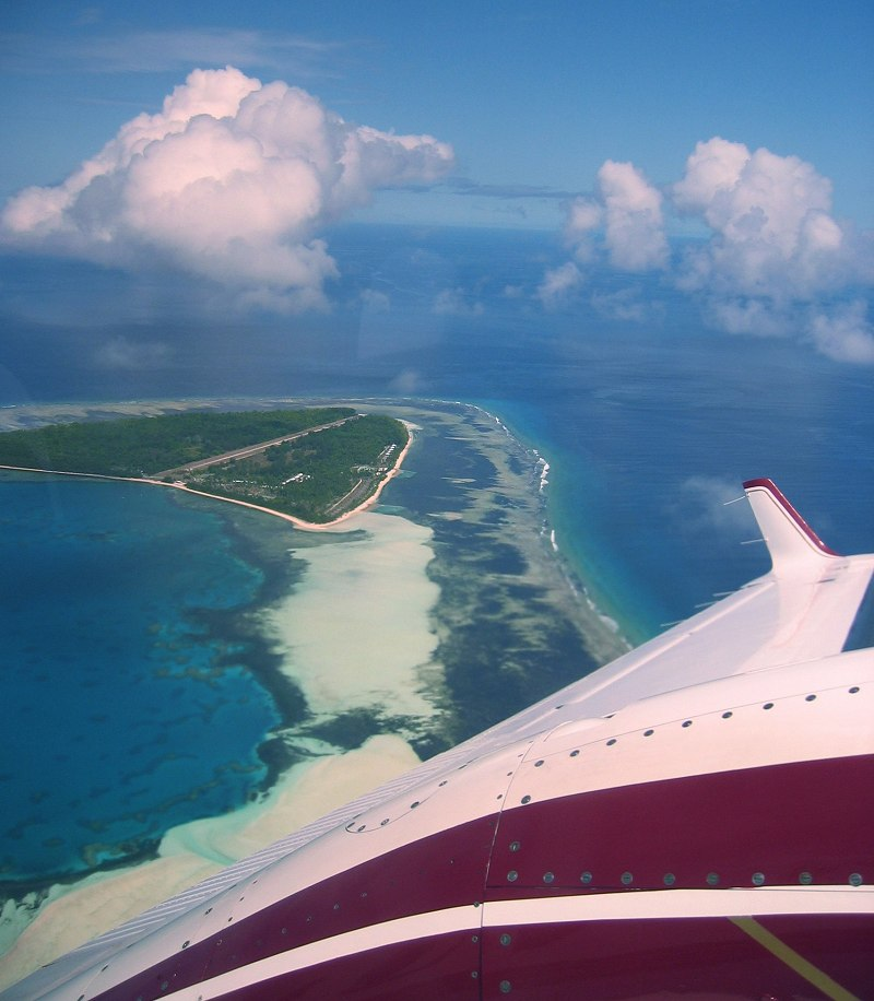 Alphonse from the air - Alphonse Island. Copyright Michael Cottam.