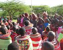 Samburu warriors and women dancing - Loisaba